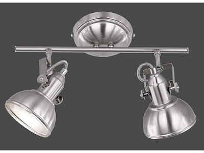 meineWunschleuchte LED Deckenstrahler, im Retro Industrie-Design, 2 flammig, Silber matt, Spots schwenkbar, LED dimmbar