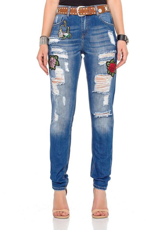 cipo & baxx -  Bequeme Jeans mit tollen Patches und praktischem Gürtel