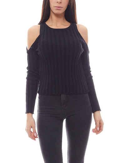 NA-KD Sweater »NA-KD Cold Shoulder Pulli gerippter Damen Sweater Pullover Schwarz«