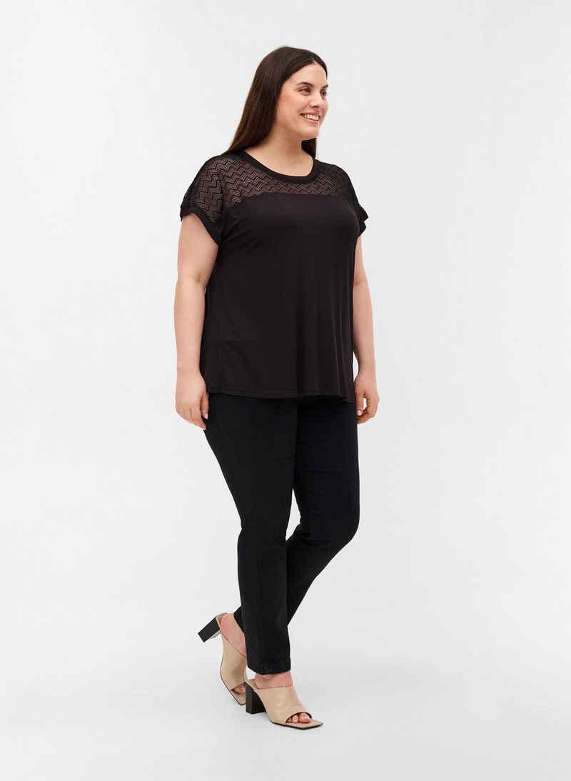 Zizzi T-Shirt Große Größen Damen T-Shirt aus Viskose mit Rundhals und Spitze