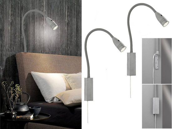 FISCHER & HONSEL LED Leselampe, 2er SET Wand-Leuchten Bett-Lampen mit Stecker, dimmbar per Gestensteuerung, Bettleuchten zum Anschrauben & Nachttischlampen für die Wand