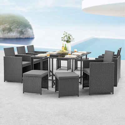 en.casa Gartenmöbelset, (11-tlg), »Laredo« Sitzgruppe XL Gartentisch mit Stühlen und Hocker Polyrattan Dunkelgrau