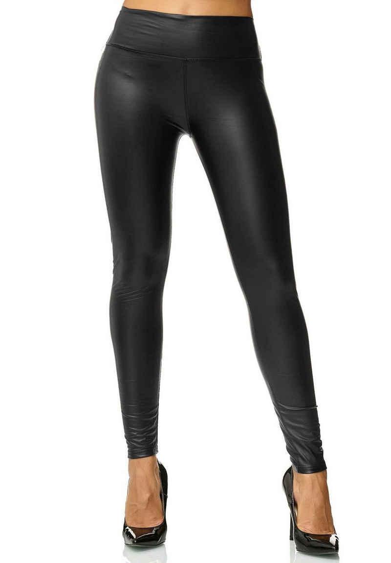 Egomaxx Lederimitathose »2564« Damen Leggings High Waist Stretch Hose Wet Look BETRAYAL