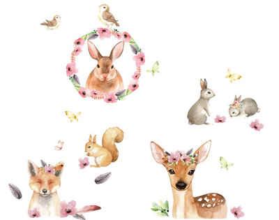 "anna wand Wandsticker »""Friendly Forest"" rosa/braun/grau - Wandtattoo Waldtiere«"