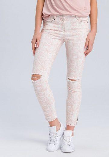 MARC AUREL 5-Pocket-Jeans mit hellem Schlangenprint und Destroys