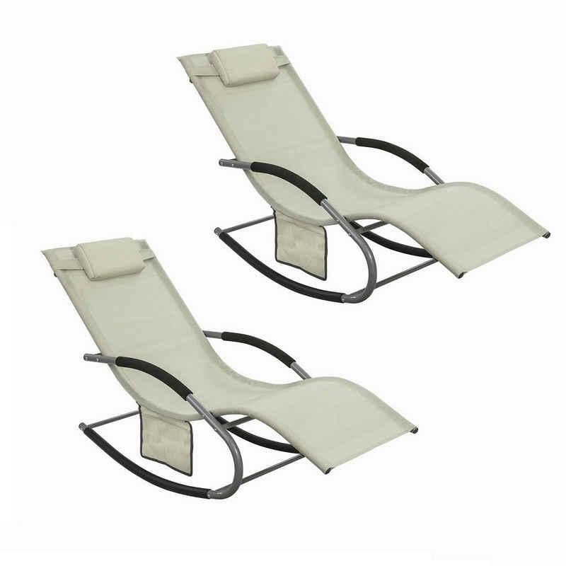 SoBuy Gartenliege »OGS28x2« 2-er Set Swingliege Schaukelliege Sonnenliege Liegestuhl mit Tasche