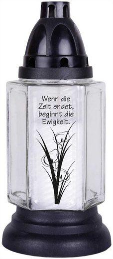 HS Candle Grabkerze (1-tlg), 6eck mit Motiv und Spruch, Grablicht Grabschmuck Grablaterne