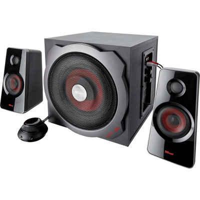 Trust GXT 38 2.1 PC-Lautsprecher (120 W, Lautsprecherset mit 1 Subwoofer und 2 Satelllit-Lautsprecher, Subwoofer aus Holz für vollen und kräftigen Sound, Energiesparmodus)