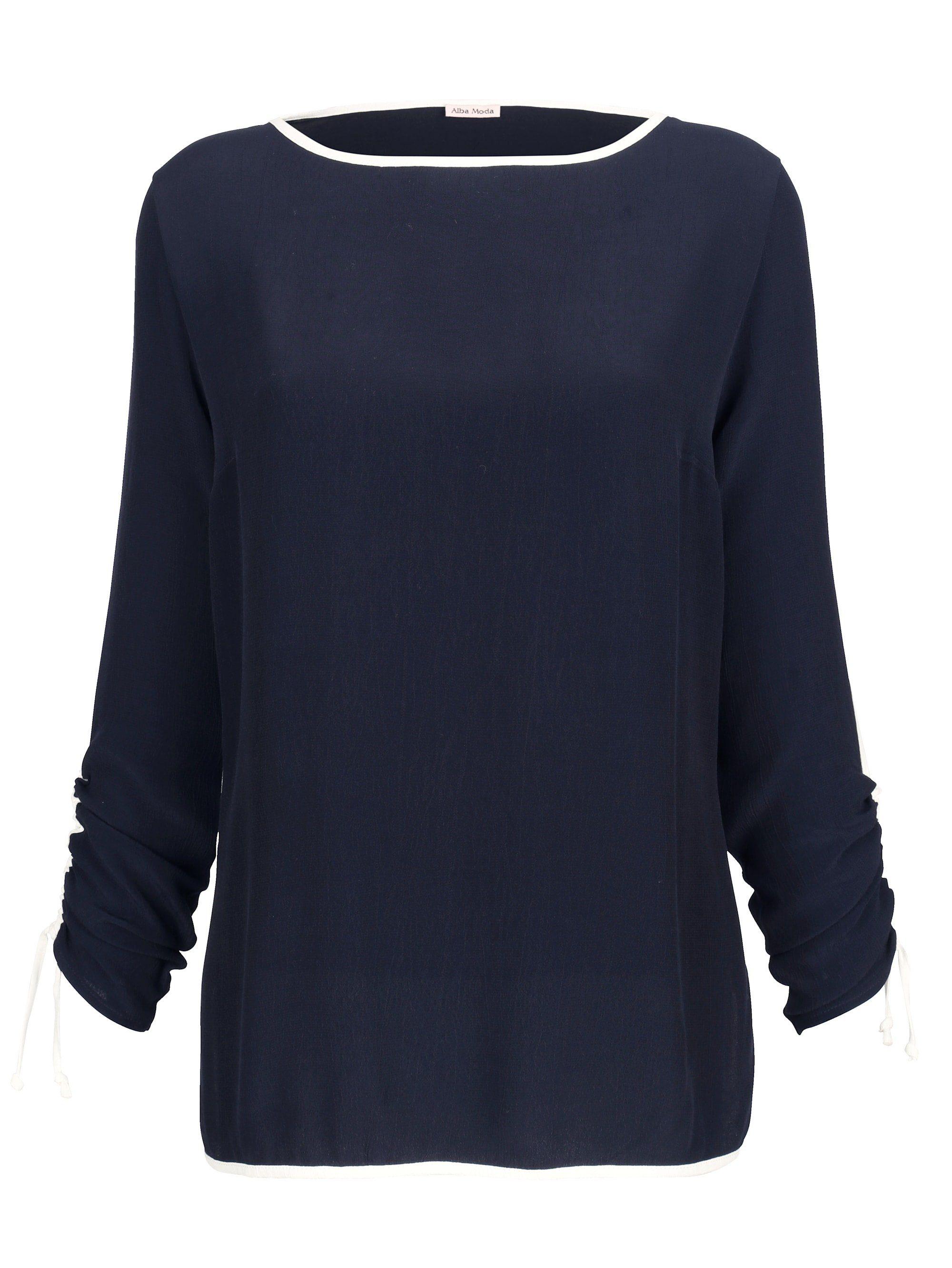Alba Moda Bluse mit Raffungen am Arm, Rückenteil aus farblich angepasster Jerseyqualität