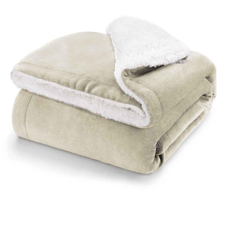 Wohndecke »Flauschige Sherpa Kuscheldecke – hochwertige Wohndecke, weiche Fleecedecke als Sofaüberwurf, Tagesdecke oder Wohnzimmerdecke«, Blumtal
