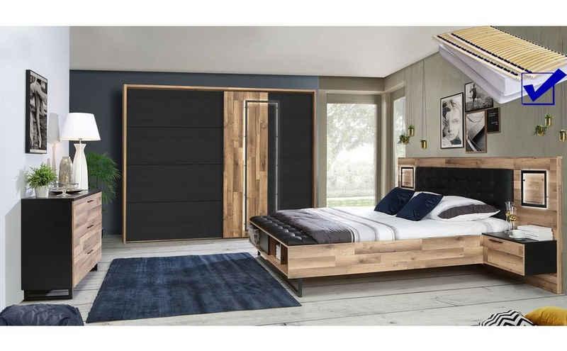 expendio Schlafzimmer-Set »Samu 10«, (Spar-Set, 7-St), Stabeiche / Schwarzeiche Nb. inkl. Lattenrost und Matratze mit LED-Beleuchtung