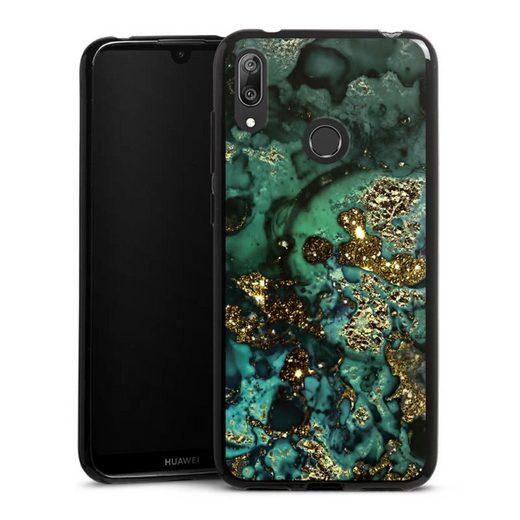 DeinDesign Handyhülle »Cyan Glitter marble look« Huawei Y7 (2019), Hülle Marmor Glitzer Look Muster