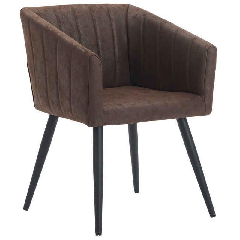Duhome Loungesessel, Esszimmerstuhl Stoff Lederoptik Samt Sessel Metallbeine Retro Design