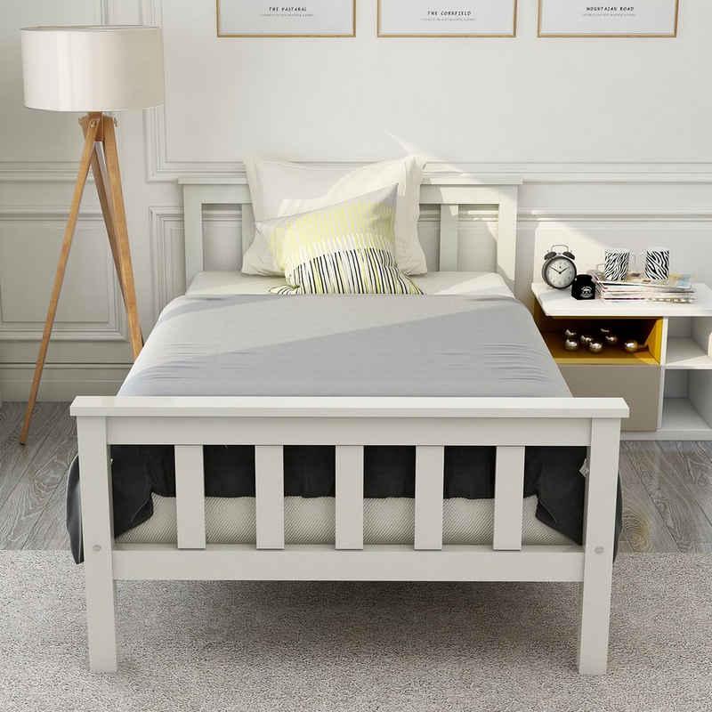 Flieks Einzelbett »Wohlgefühl«, Holzbett mit Lattenrost Massivholz Einzelbett mit Kopfteil Kinderbett Jugendbett, 90x200cm Kiefer Weiß