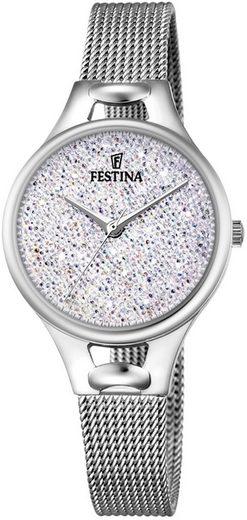 Festina Quarzuhr »UF20331/1 Festina Swarovski Elements F20331/1«, (Analoguhr), Damen Armbanduhr rund, Edelstahlarmband silber