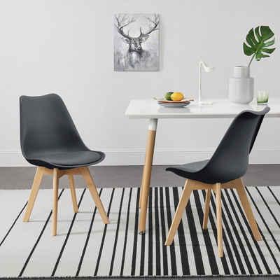 en.casa Esszimmerstuhl (6 Stück), »Dubrovnik« Polsterstühle 6er Set Küchenstühle Schalenstühle Kunstleder Grau