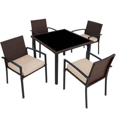 tectake Sitzgruppe »Rattan Sitzgruppe Meran 4+1«, (5-tlg)