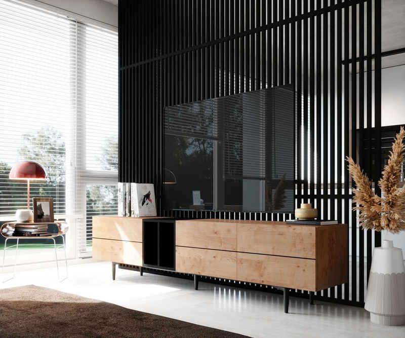 Newroom Lowboard »Nizza«, TV Board Wildeiche Wohnzimmertisch Vintage Industrial Landhausstil Sofatisch Wohnzimmer