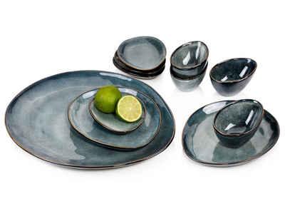 SÄNGER Servier-Set »Darwin«, Steingut, (Set, 11-tlg., 1x Servierplatte, 2x Dessertteller, 4x Dipschale, 4x Unterteller), Vintage Design