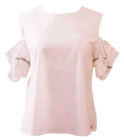 Liebesglück Shirtbluse »Liebesglück Rundhals-Bluse süßes Damen Blusen-Shirt mit Cut-Outs an den Schultern Freizeit-Shirt Weiß«