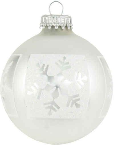 Krebs Glas Lauscha Weihnachtsbaumkugel »CBK90160« (4 Stück), mit Schneeflocken