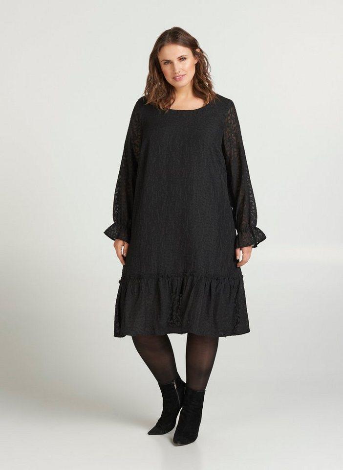 Festtagsmode - Zizzi Abendkleid Große Größen Damen Kleid mit langen Ärmeln und Rundhalsausschnitt ›  - Onlineshop OTTO