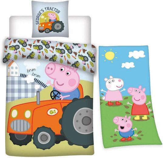 Kinderbettwäsche »Peppa Pig Wutz - Traktor Wende-Bettwäsche-Set, 135x200 und Badetuch, 75x150 cm«, Peppa Pig, 100% Baumwolle