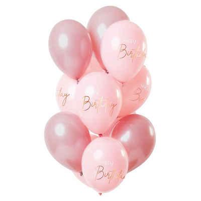 Folat Luftballon »Luftballons Happy Birthyday gold/rosa/bordeaux 30«