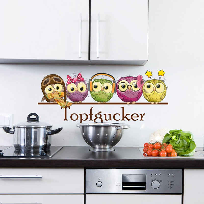Sunnywall Wandtattoo »Sunnywall Wandtattoo niedlich Topfgucker Eulen Vögel Kochen Küche Essen Wandsticker bunt Farbe«