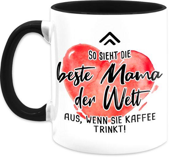 Shirtracer Tasse »So sieht die beste Mama der Welt aus, wenn sie Kaffee trinkt rot - Muttertagsgeschenk Tasse - Tasse zweifarbig«, Keramik