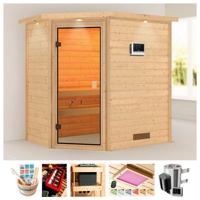 Saunen und Zubehör - KARIBU Sauna »Rügen 3«, 223x159x191 cm, 3,6 kW Plug Play Ofen, ext. Strg., Dachkranz  - Onlineshop OTTO