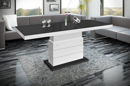designimpex Couchtisch »Design Couchtisch Tisch H-333 Schwarz MATT / Weiß HOCHGLANZ KOMBINATION höhenverstellbar ausziehbar Esstisch«