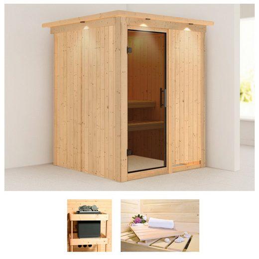 KARIBU Sauna »Norin«, 165x165x202 cm, ohne Ofen, mit Dachkranz