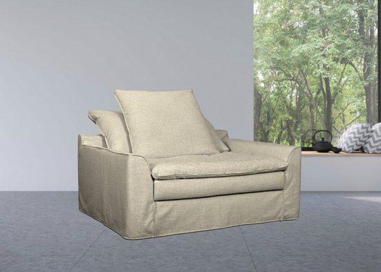 furninova XXL-Sessel »Sake«, inklusive 2 Kissen, abnehmbarer und waschbarer Hussenbezug, Kissen mit Federn gefüllt, Memoryschaum, im skandinavischen Design