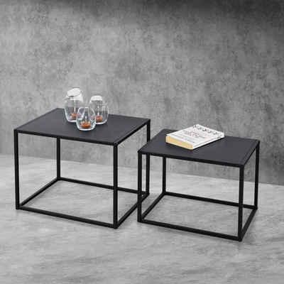 en.casa Beistelltisch, 2er Set »Mandal« Metall Couchtisch im Indutrial Design