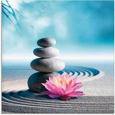Artland Glasbild »Sand, Lilie und Spa-Steine in Zen-Garten«, Zen (1 Stück)