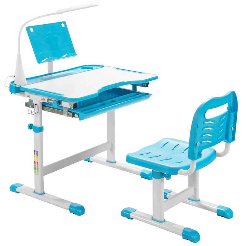 COSTWAY Kinderschreibtisch »Kindertisch und Stuhl Set Kinder Schreibtischfür«, höhenverstellbar, mit Bücherständer& LED-Licht, mit gekippter Tischplatte & Schublade