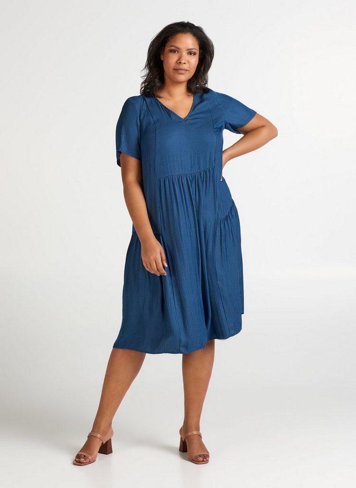 zizzi -  Jeanskleid Große Größen Damen Kurzarm Kleid mit V Ausschnitt und Streifen
