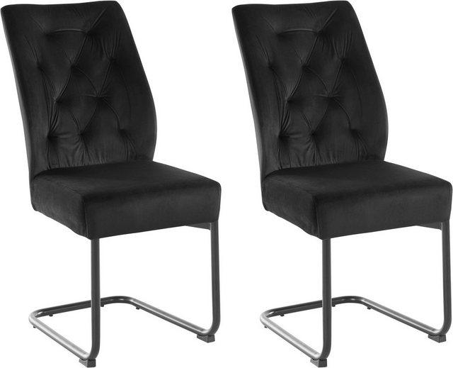 Stühle und Bänke - Freischwinger »Sarah« (Set, 2 Stück), Bezug in Samtstoff, schwarzes Metallgestell  - Onlineshop OTTO