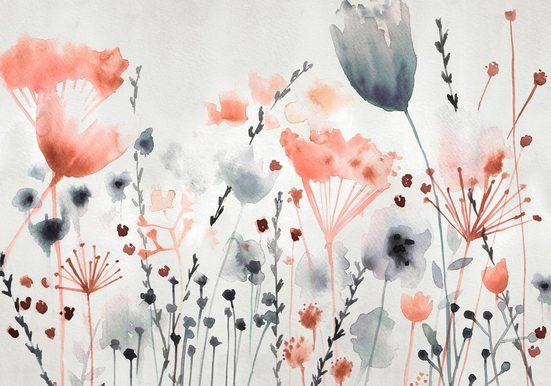 Fototapete »Watercoloured Meadow«, Rosa, 372x280 cm
