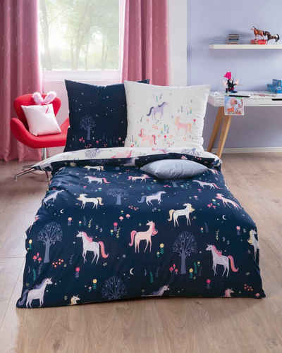 Kinderbettwäsche »Zauberwald«, Kaeppel, mit Einhörnern