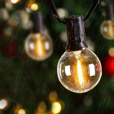 Elegear LED-Lichterkette »LED Lichterkette Glühbirnen IP65 Wasserfest, Avoalre G40 warmweiss 30 Glühbirnen LED Lichterkette Außen,10M Innen-/Aussenbeleuchtung Partylichterkette (Max. 170M) Ausdehnbar Outdoor Lichterkette«