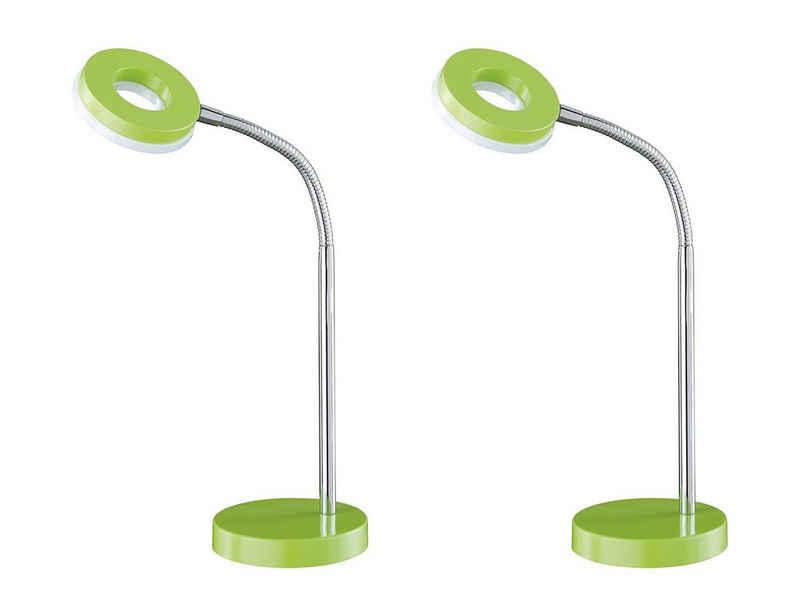 meineWunschleuchte LED Schreibtischlampe, 2er Set, coole Ring-leuchte, grün, Büro-lampe mit Flexarm und Schnur-schalter, Leselampe für Nachttisch