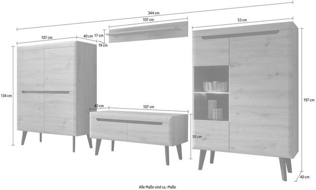 Wohnwände - my home Wohnwand »Torge«, (Set, 4 St)  - Onlineshop OTTO