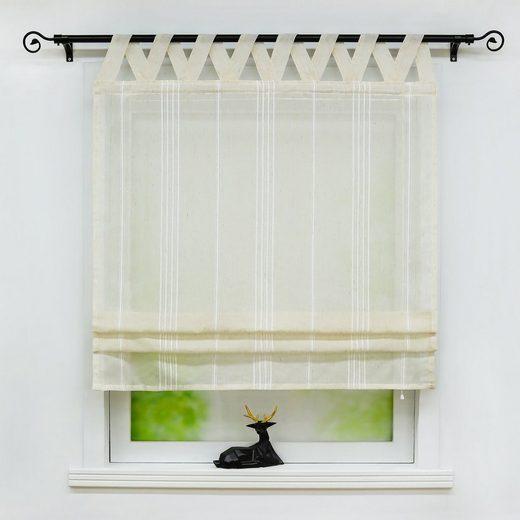 Raffrollo »Thea«, Delien, mit Schlaufen, halbtransparentes Unifarbiges Bändchenrollo mit Längsstreifen Schals mit V Schlaufen Fenster Vorhänge