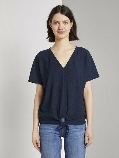 TOM TAILOR Denim T-Shirt »Relaxed T-Shirt mit Schleifen-Detail«