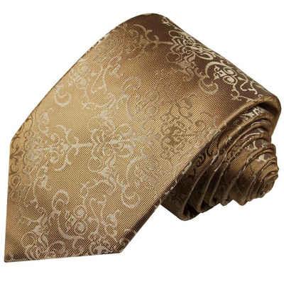 Paul Malone Krawatte »Herren Seidenkrawatte Designer Schlips modern barock 100% Seide« Schmal (6cm), gold braun 2049