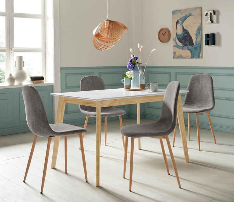 Homexperts Essgruppe »Kaitlin Tischgruppe«, (Set, 5-tlg., bestehend aus Esstisch »Kailtin« Breite 120 cm und 4 Stühlen Bezug in Cord)