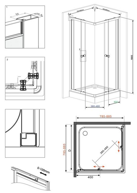 Duschen und Zubehör - welltime Eckdusche »Trento«, BxT 90x90 cm, Sicherheitsglas, mit Anti Kalk Versiegelung, variabler Verstellbereich  - Onlineshop OTTO