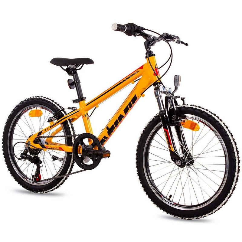 Airtracks Kinderfahrrad »MTB Mountainbike 20 Zoll Kinder Allu Fahrrad YO.2020 Shimano 6 Gang«, 6 Gang Shimano Tourney Schaltwerk, Kettenschaltung